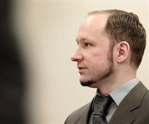 Anders Behring Breivik stands in the courtroom in Oslo, April 25, 2012.
