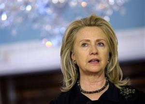 Secretary of State Hillary Clinton speaks during a news conference on April 24.