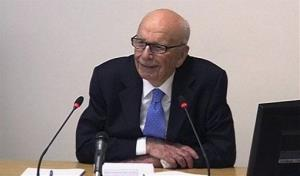 In this image from video, News Corp. chairman Rupert Murdoch appears at Lord Justice Brian Leveson's inquiry in London Wednesday.