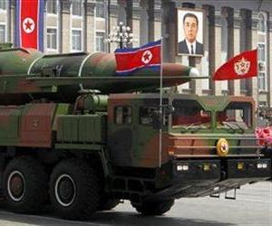 What appears to be a new missile is carried during a mass military parade in Pyongyang, North Korea, to celebrate the 100th anniversary of the country's founding father Kim Il Sung.