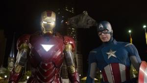Iron Man, portrayed by Robert Downey Jr., left, and Captain America, portrayed by Chris Evans, are shown in a scene from The Avengers.