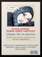 A poster advertises a controversial conference yesterday on the killing of Dearborn's Jessica Mokdad, 20.