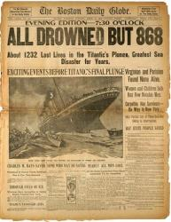 In this March. 6, 2012 photo provided by Bonhams Auction House, the front page of the April 16, 1912 evening edition of the Boston Globe, detailing the Titanic Disaster is shown.