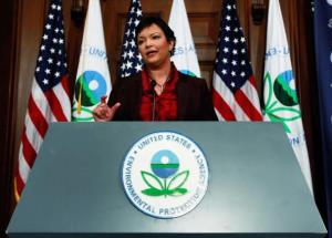EPA Administrator Lisa P. Jackson speaks during a news conference on greenhouse gases at the Environmental Protection Agency headquarters on December 7, 2009 in Washington, DC.