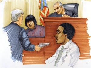 This courtroom sketch shows Julia Hudson testifying during the first day of William Balfour's murder trial at the Cook County Criminal Court in Chicago, Monday, April 23, 2012.