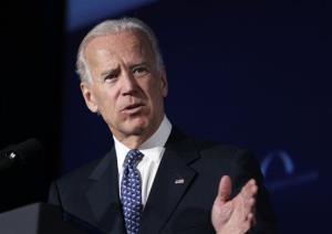 Joe Biden speaks at Mellon Auditorium in Washington.