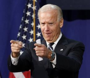 Vice President Joe Biden gestures as he talks about college spending, Tuesday, April 3, 2012, at Maury High School in Norfolk, Va.