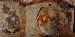 Artwork, the first to be found on walls of a Maya house, adorn a dwelling in the ruined city of Xultun in northeastern Guatemala.