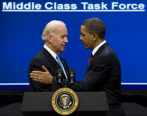 In this 2010 file photo, VP Joe Biden and President Obama are at the podium together.