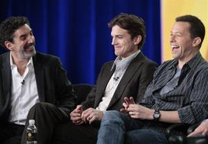 Ashton Kutcher, Jon Cryer, and Chuck Lorre take questions at the Television Critics Association Winter Press Tour, Wednesday, Jan. 11, 2012, in Pasadena, Calif.