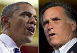 In this combo made from file photos, President Barack Obama speaks at the University of Iowa in Iowa City, on April 25, 2012, left, and Mitt Romney speaks in Wilmington, Del. on April 10, 2012.