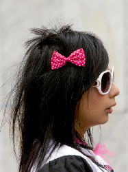 A girl belonging to the 'emo' urban tribe, at Glorieta de los Insurgentes in Mexico City, on March 26, 2008.