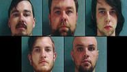 These five Indiana men were arrested and charged with mob action, aggravated assault and property damage.