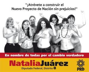 Natalia Juarez, of the Democratic Revolution Party, center, poses topless with other women on an ad in Guadalajara, Mexico.