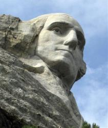 This August 2009 file photo shows the George Washington face on Mount Rushmore National Memorial.