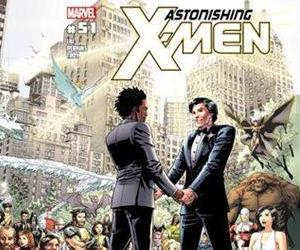 The cover of 'Astonishing X-Men,' No 51, in which Jean-Paul Beaubier, aka Northstar,' right, will marry his beau, Kyle Jinadu.