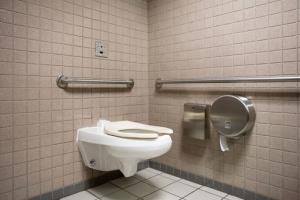 A stock photo of a public bathroom.