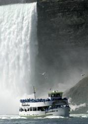 In this April 21, 2005 file photo, a Maid of the Mist ship returns from the base of the Horseshoe Falls, as seen from a ship leaving Niagara Falls.
