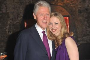 Bill Clinton and Chelsea Clinton arrive at 'A Night Out With The Millennium Network,' at the Old Vic Tunnels, presented by The Clinton Foundation and The Reuben Foundation.