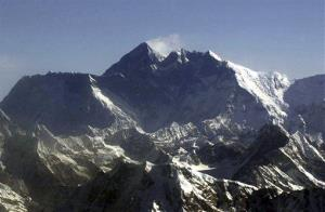 Mount Everest, the world's tallest mountain, as seen from an airplane.