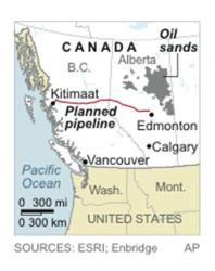 Map locates Alberta oil sands and the planned route of the Northern Gateway Pipeline