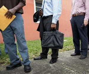 Job seekers line up in Miami, Florida, in this file photo.