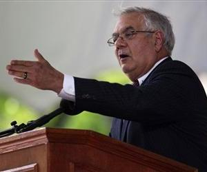 Barney Frank addresses an audience during Harvard Class Day exercises on the campus of Harvard University, in Cambridge, Mass., May 23, 2012.