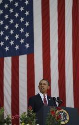 President Barack Obama speaks during Memorial Day ceremony at Arlington National Cemetery, Monday, May 28,2012 in Arlington, Va.