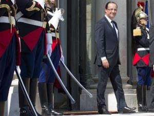 French President Francois Hollande waiting at the Elysee Palace in Paris, Tuesday May 29, 2012.