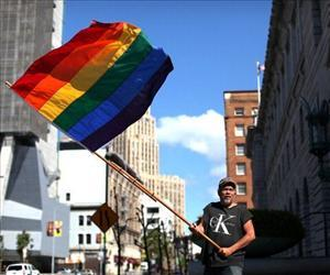 Bob Sodervick waves a gay pride flag outside of the Ninth U.S. Circuit Court of Appeals on June 5, 2012 in San Francisco, California.