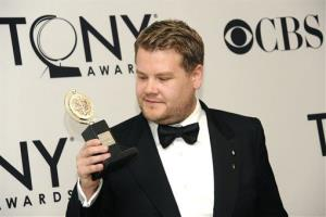 James Corden shows off his award for One Man, Two Guvnors at the 66th Annual Tony Awards in New York yesterday.