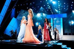 Miss Colorado Marybel Gonzalez, Miss Connecticut Marie-Lynn Piscitelli, Miss Delaware Krista Clausen, Miss DC Monique LaShone Thompkins, and Miss Florida Karina Brez are shown May 30, 2012.