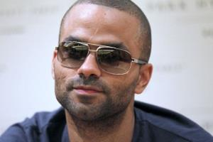 French basketball player Tony Parker gives a press conference in Paris.