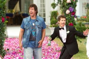 This film image released by Columbia Pictures shows Adam Sandler, left, and  Andy Samberg in a scene from That's My Boy.