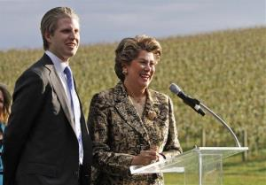Eric Trump smiles as he  joins Patricia Kluge during a news conference  at the Trump winery in Charlottesville, Va., Tuesday, Oct. 4, 2011.