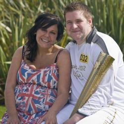 Torchbearer 032 David State and his new fiancee Christine Langham are shown on June 18, 2012 in Marske-by-the-Sea, England.
