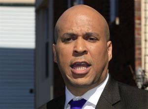 In this April 13, 2012 file photo, Newark Mayor Cory Booker speaks in Newark.