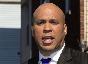 In this April 13, 2012 file photo, Newark Mayor Cory Booker speaks in Newark.