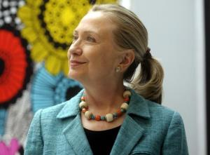Hillary Clinton visits Marimekko textile design house company headquarters in Helsinki, Finland yesterday.