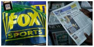 This combination of AP file photos show a Fox Sports logo, left, and a person holding a copy of a Wall Street Journal, right.