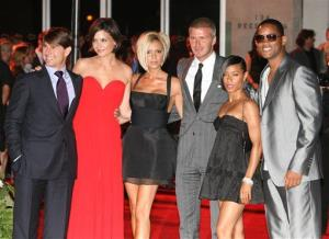 Tom Cruise, Katie Holmes, Victoria Beckham, David Beckham, Jada Pinkett Smith, and Will Smith pose for photographers at the Museum of Contemporary Art, July 22, 2007, in Los Angeles.