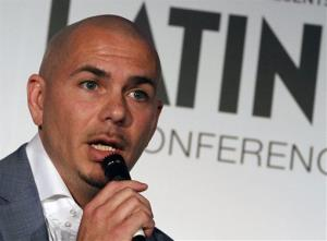 Miami rapper Pitbull talks to a reporter in Miami, Wednesday, April 25, 2012.