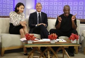 This image released by NBC shows co-hosts Ann Curry, left, and Matt Lauer, center, with actor Jimmie Walker from the 1970s series Good Times,  on the Today show.