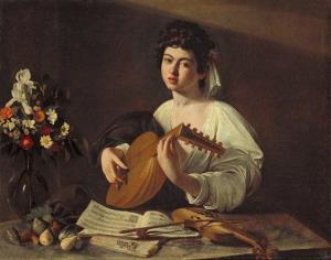 Michelangelo Merisi da Caravaggio's 'Lute Player' is pictured.