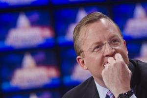Robert Gibbs speak before a taping of Jeopardy! Power Players Week on April 21, 2012 in Washington, DC.