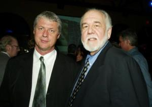 Director Roger Donaldson and Chase Brandon attend the premiere of 'The Recruit' at the Cinerama Dome on January 28, 2003 in Hollywood, California.