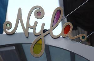 A sign for singer Britney Spears' new restaurant Nyla hangs above the entrance June 27, 2002 in New York City.