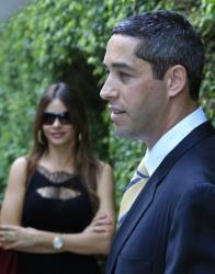 Republican businessman Nick Loeb, right, speaks as Sofia Vergara looks on during a news conference in Miami Beach, Fla., in 2011.