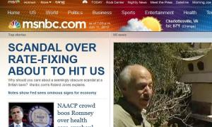 A screen shot of the MSNBC.com website.
