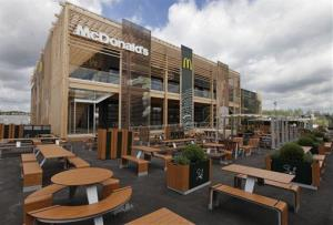 This  newly constructed McDonald's restaurant at the Olympic Park in east London is the biggest in the world, with space for 1,500 diners.